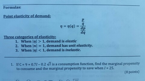 Solved Formulas Point Elasticity Of Demand Eta Eta Q