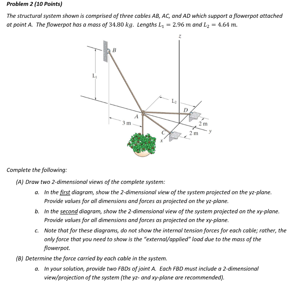 Solved problem 2 10 points the structural system shown problem 2 10 points the structural system shown is comprised of three cables ab ccuart Images