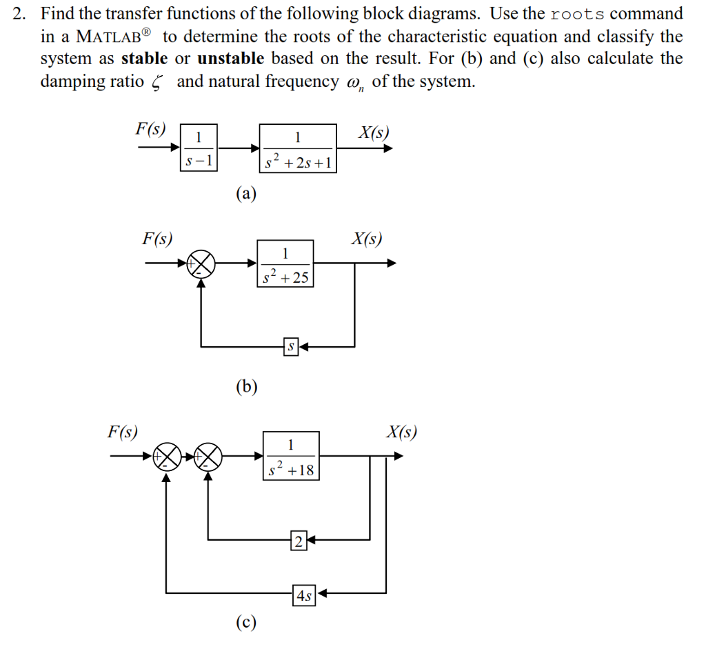 Solved Find The Transfer Functions Of Following Block Diagram Matlab