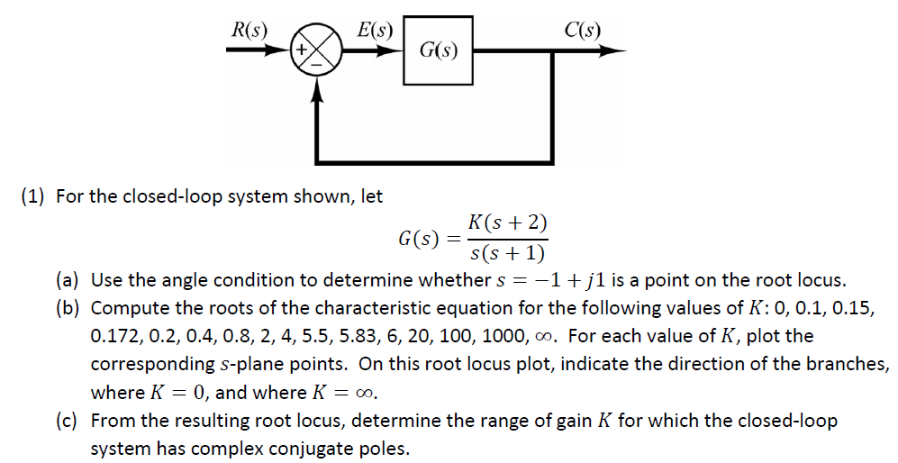 R(s) E(s) C(s) G(s) (1) For the closed-loop system shown, let K(s 2) G (s) = s(s+1) (a) Use the angle condition to determine whether s1j1 is a point on the root locus. (b) Compute the roots of the characteristic equation for the following values of K: 0, 0.1, 0.15, 0.172, 0.2, 0.4, 0.8, 2, 4, 5.5, 5.83, 6, 20, 100, 1000, oo. For each value of K, plot the corresponding s-plane points. On this root locus plot, indicate the direction of the branches, where K- 0, and where K- oo (c) From the resulting root locus, determine the range of gain K for which the closed-loop system has complex conjugate poles.