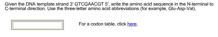 question given the dna template strand 3 gtcgaacgt 5 write the amino acid sequence in the n terminal to
