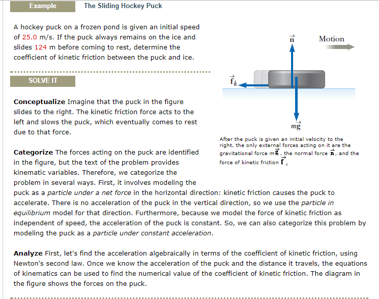 Solved Example The Sliding Hockey Puck A Hockey Puck On A