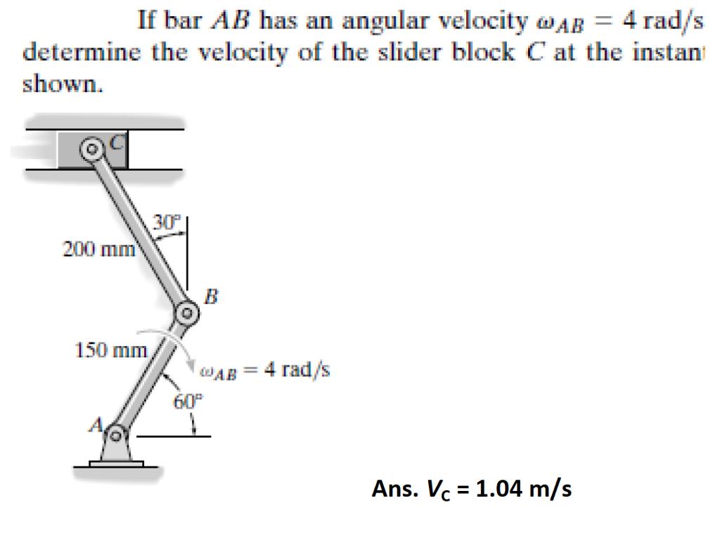 Solved: If Bar AB Has An Angular Velocity Omega_AB = 4 Rad