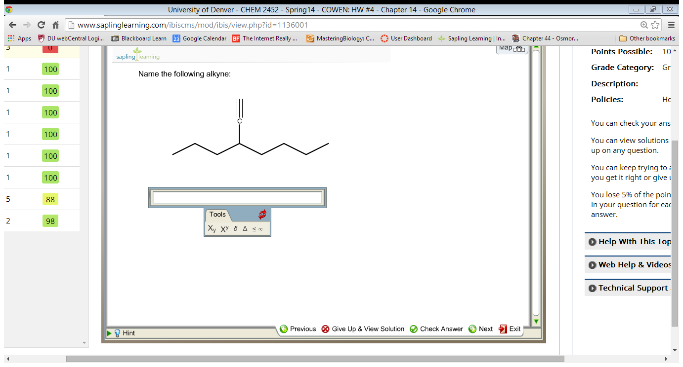 Naming Alkenes and Alkynes on the same Compound - ENYNE