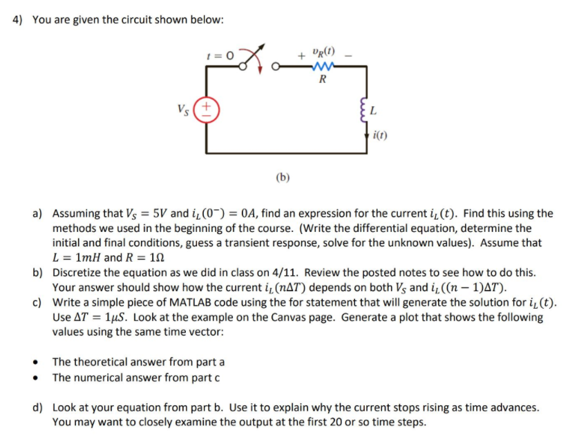 solved 4 you are given the circuit shown below t 0 ur rh chegg com