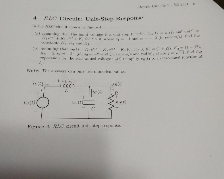 Solved: Electric Circuits 2 - EE 2351s 4 RLC Circuit: Unit ...