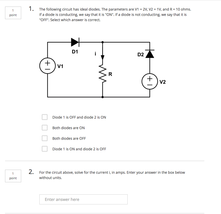 solved the following circuit has ideal diodes the parame rh chegg com