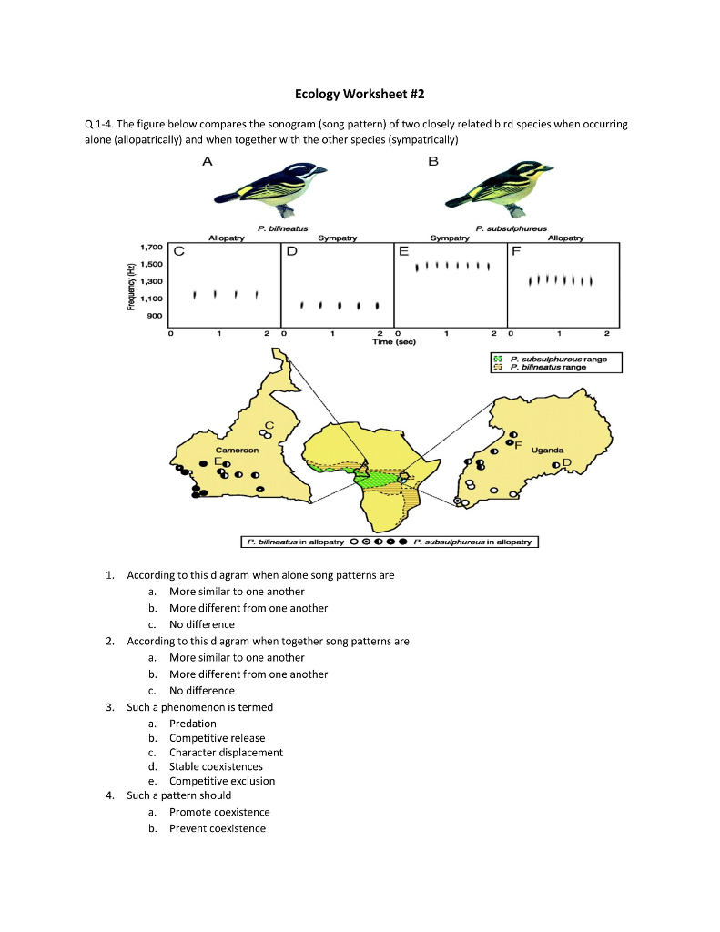 worksheet Ecology Worksheet solved ecology worksheet 2 q 1 4 the figure below compa compares sonogram