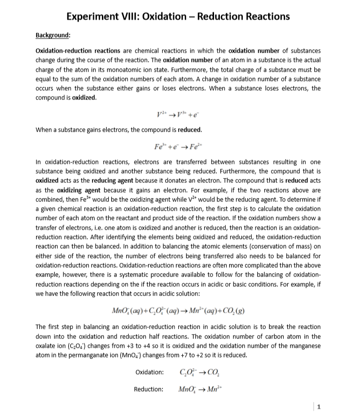 Solved: Experiment VIII: Oxidation - Reduction Reactions B ...