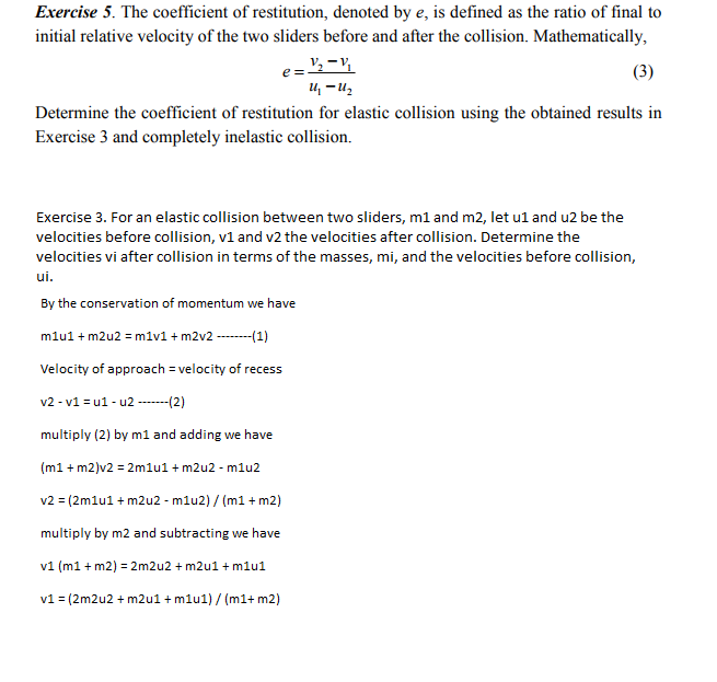 Solved Exercise 5 The Coefficient Of Restitution Denote