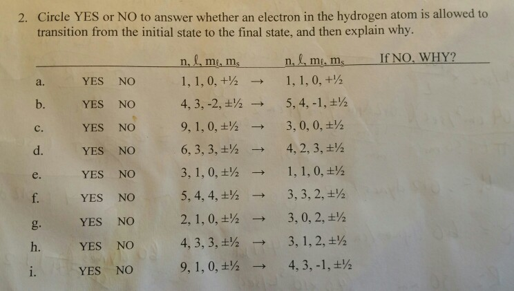 Solved: Circle YES Or NO To Answer Whether An Electron In