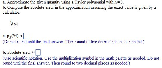 Solved A Approximate The Given Quantity Using A Taylor P