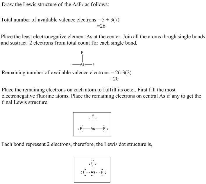 Draw the Lewis structure of the AsF3 as follows: Total number of available valence electrons-5+3(7) Place the least electrone
