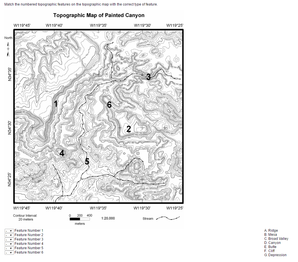Cliff Topographic Map.Solved Match The Numbered Topographic Features On The Top