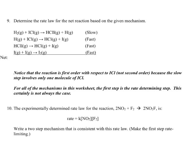 Solved: Determine The Rate Law For The Net Reaction Based ...
