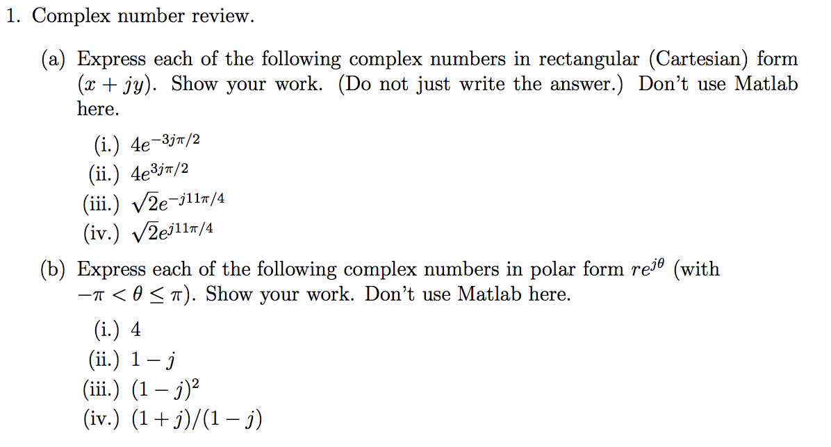 complex number and ans