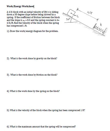 Solved: Work/Energy Worksheet| A 4 Lb Block With An Initia ...