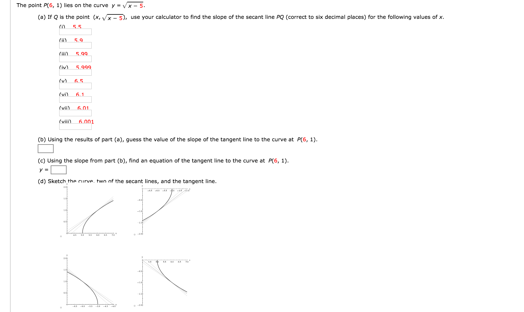 The Point P(6, 1) Lies On The Curve Y = Squareroot