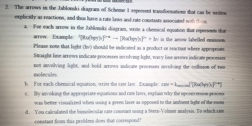 Holecule the arrows in the jablonski diagram of sc chegg holecule the arrows in the jablonski diagram of scheme 1 represent transformations that can be written ccuart Gallery