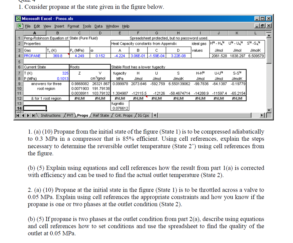 1 Consider Propane At The State Given In The Figure Below E Microsoft Excel  Preos Chemistry