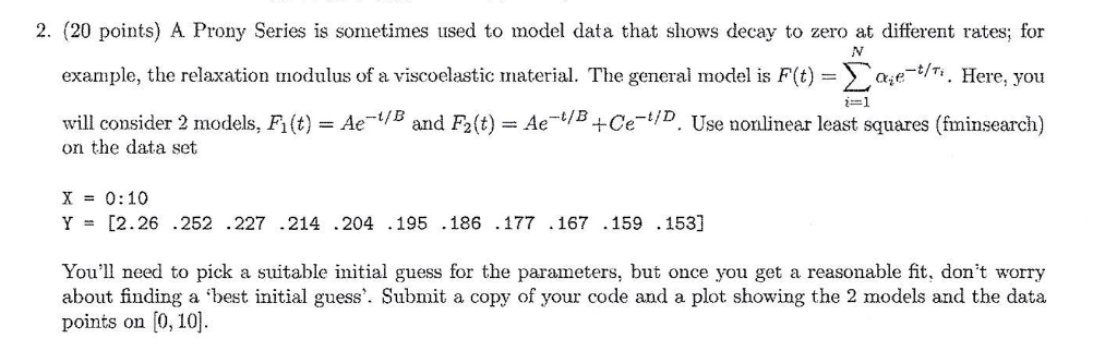 Solved: A Prony Series Is Sometimes Used To Model Data Tha