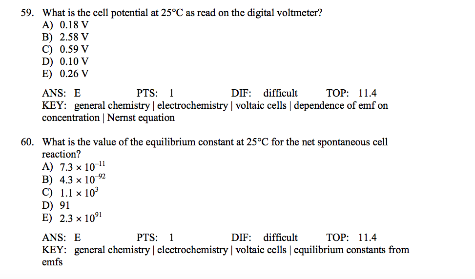 59  What Is The Cell Potential At 25°C As Read On     | Chegg com