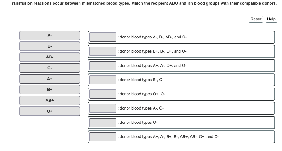 Match what blood types What Blood