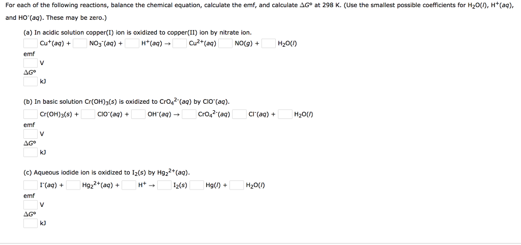 Solved For Each Of The Following Reactions Balance The C