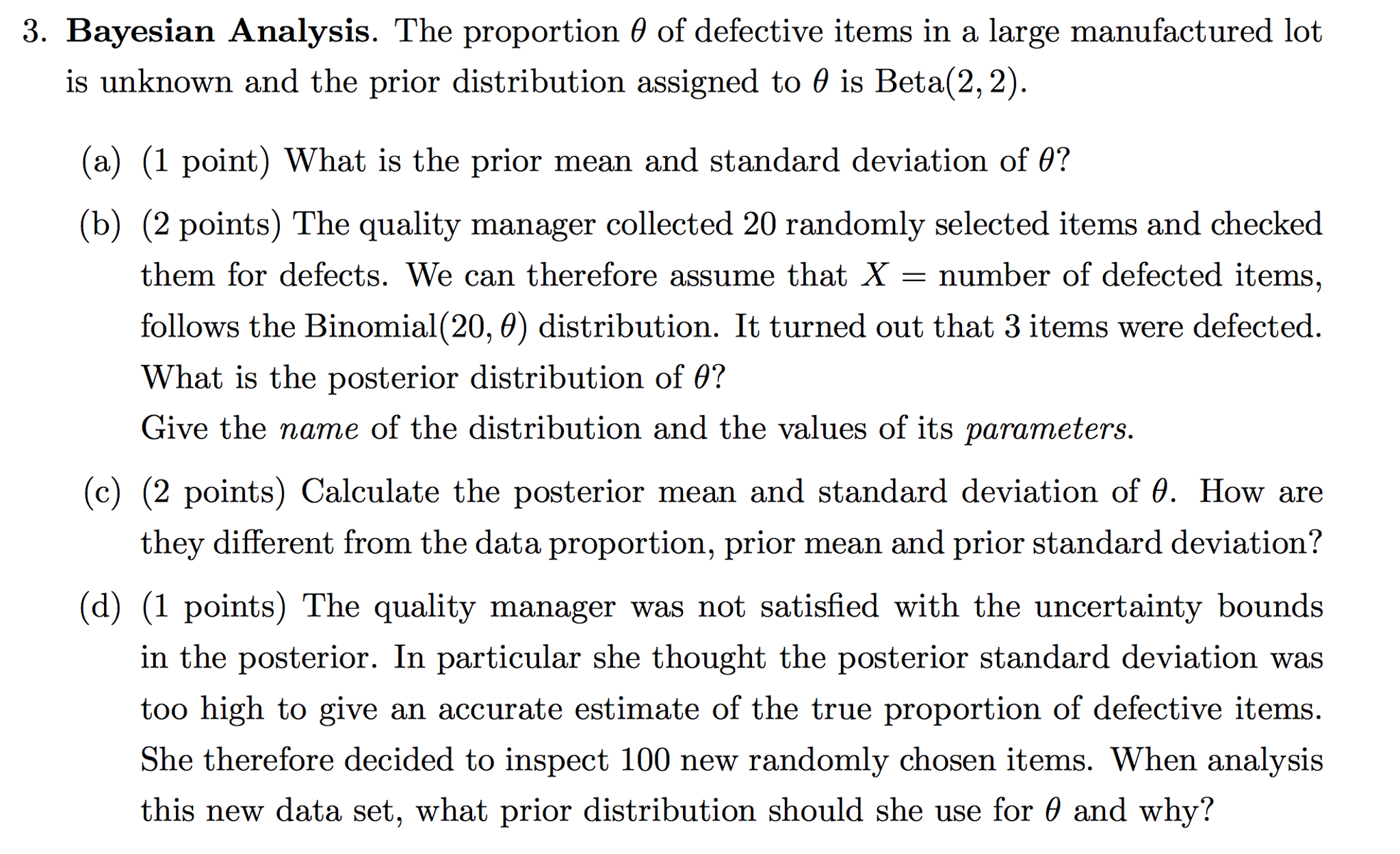 Bayesian Analysis The Proportion Theta Of Defecti