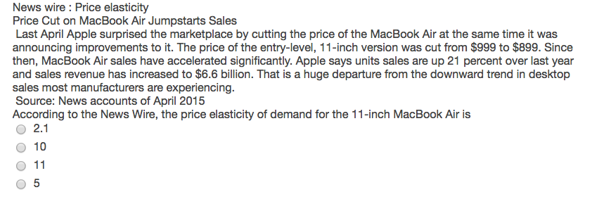 Solved: News Wire : Price Elasticity Price Cut On MacBook ...