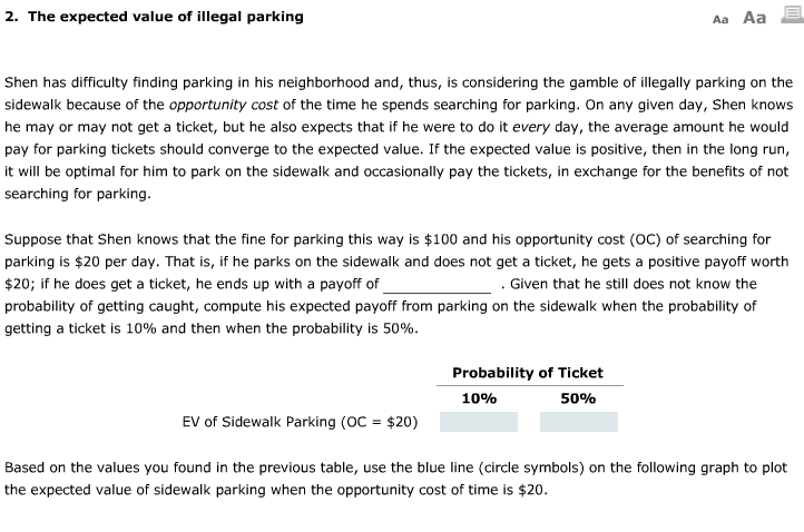 Solved: Aa Aa E 2  The Expected Value Of Illegal Parking S