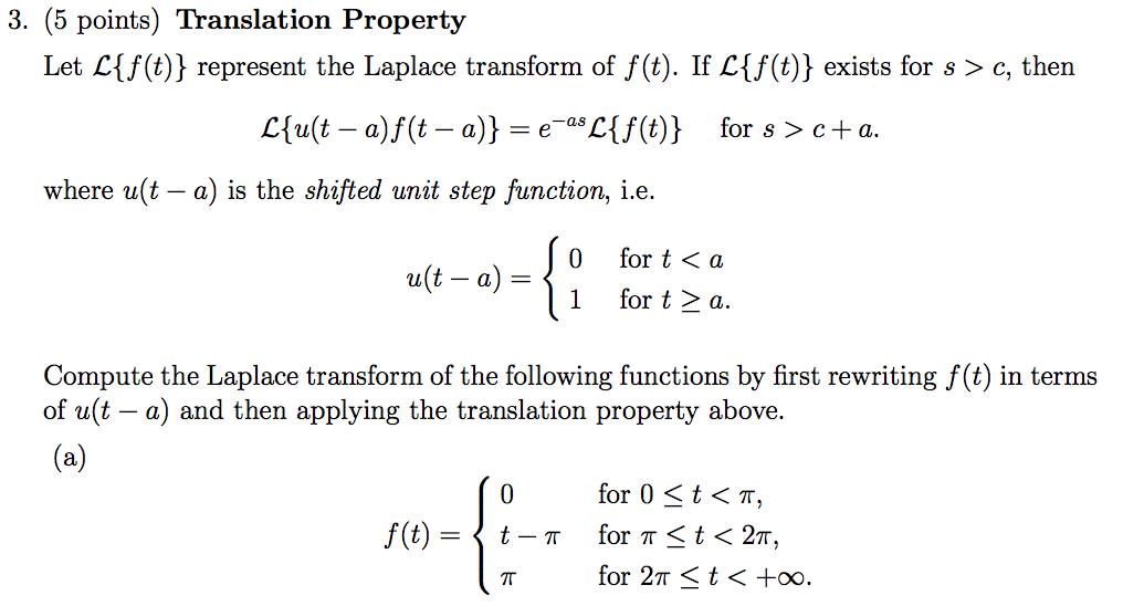 Solved: 3  (5 Points) Translation Property Let Ctf (t) Rep