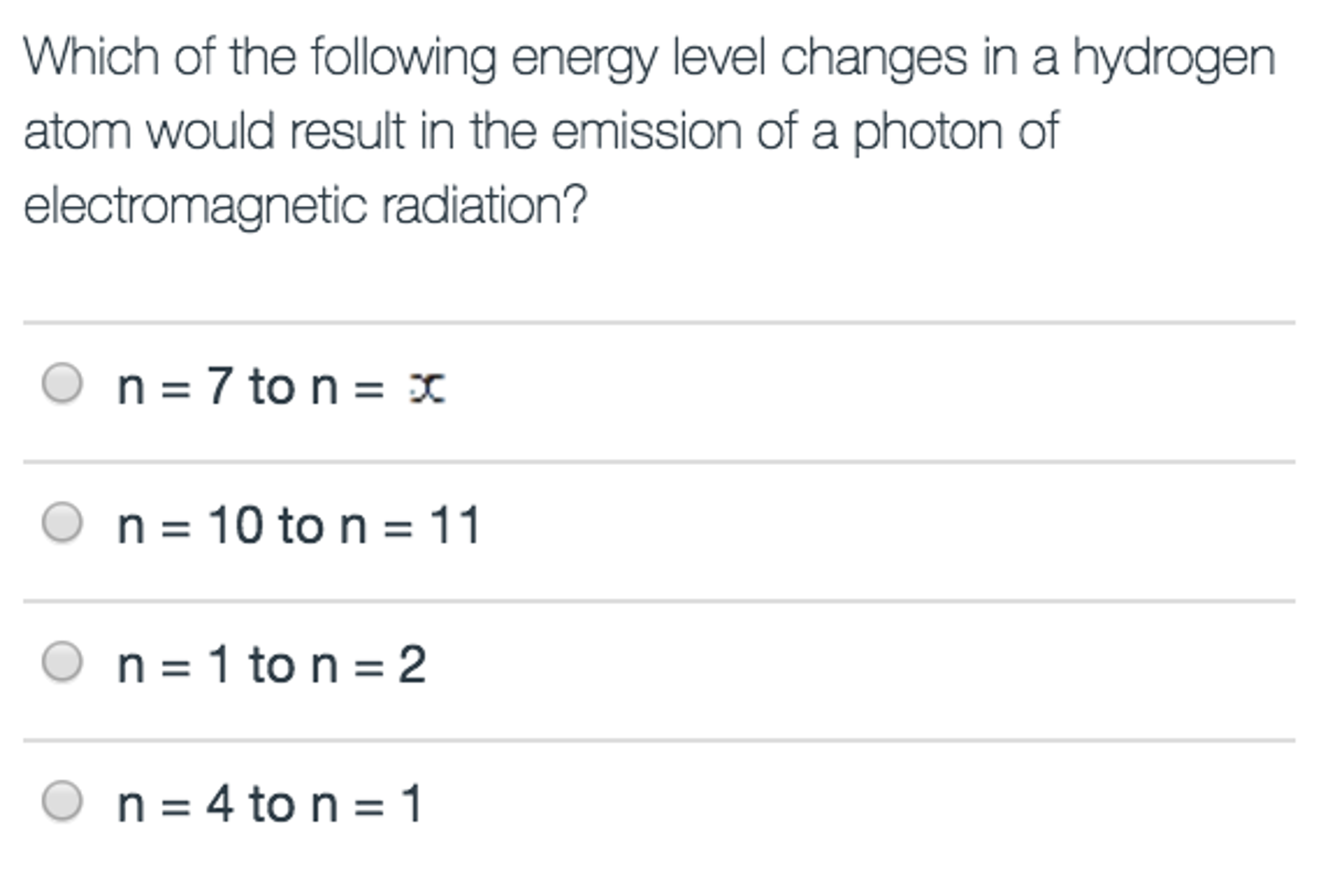 Advanced physics archive november 06 2016 chegg which of the following energy level changes in a h biocorpaavc Images