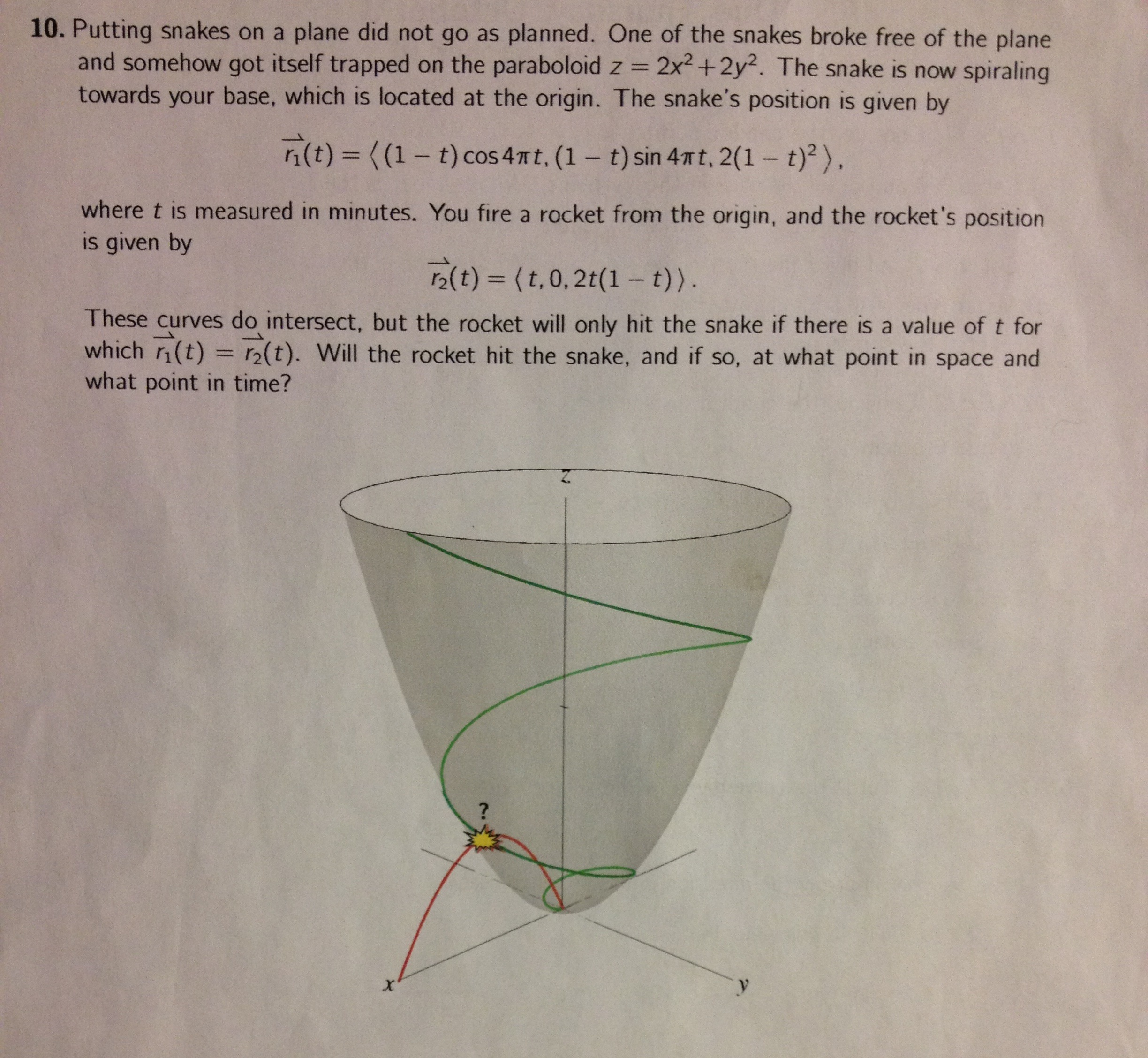Solved A Snake Got Itself Trapped On The Paraboloid Z 2x Snakes Diagram Putting Plane Did Not Go As Planned O