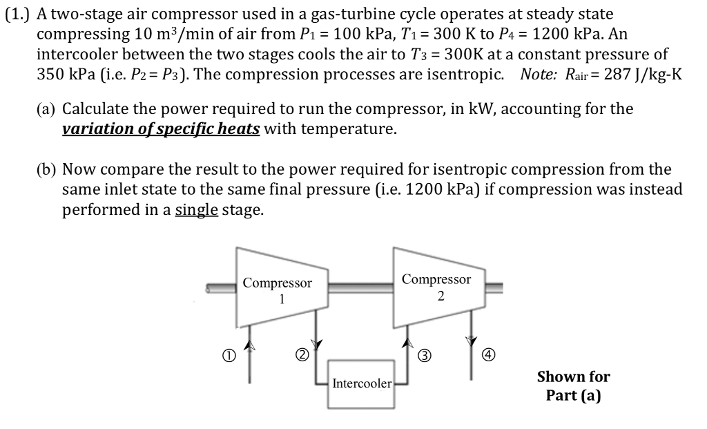 Solved: (1 ) A Two-stage Air Compressor Used In A Gas-turb
