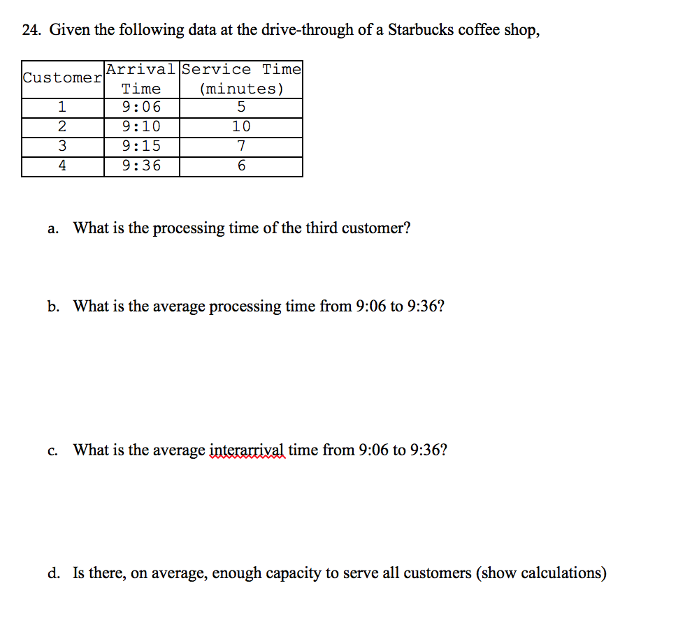 solved 24 given the following data at the drive through rh chegg com Starbucks Customer Service Training Manual Starbucks Training Guide