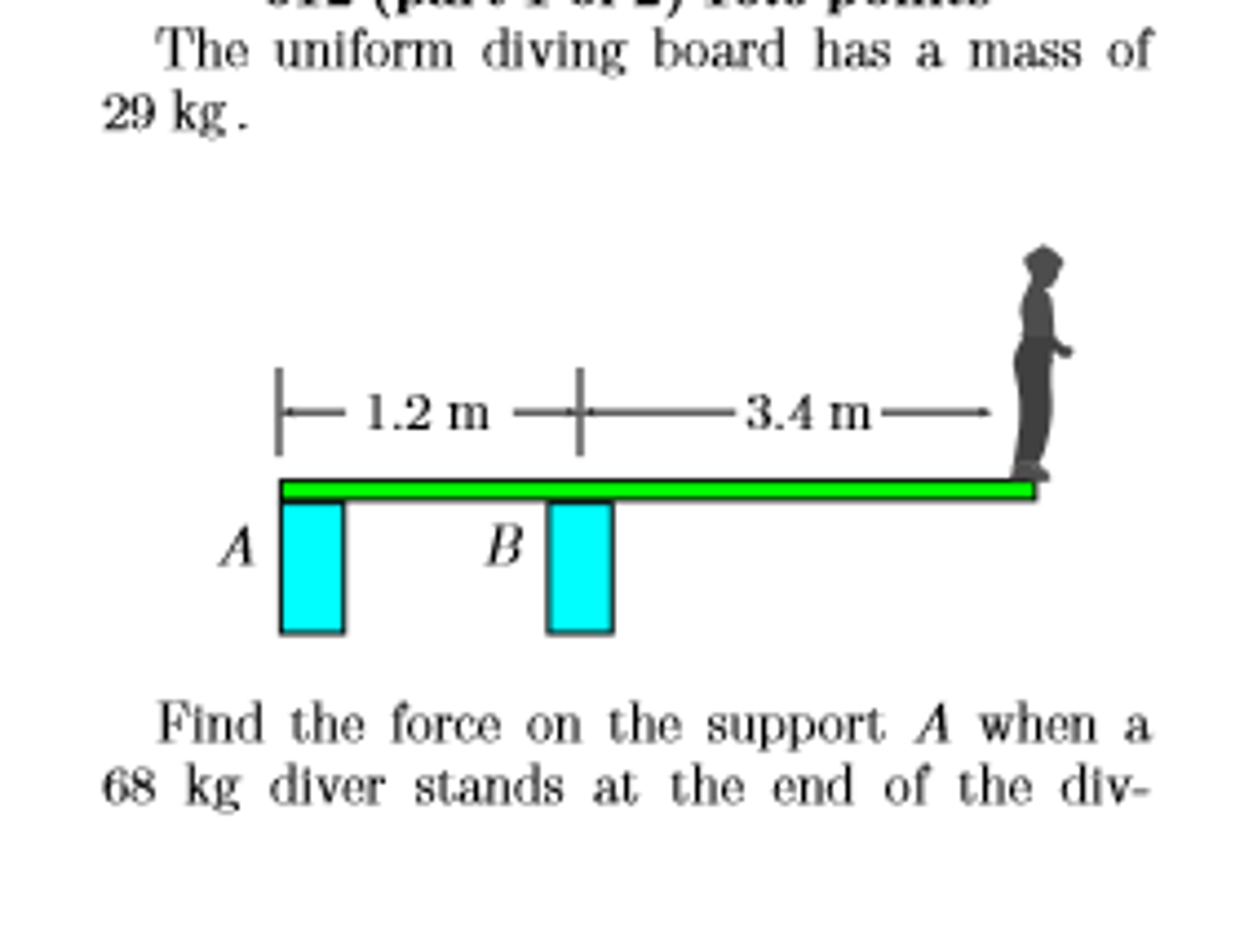 Find Board solved: the uniform diving board has a mass of 29 kg. find