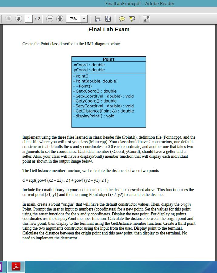 Solved finallabexampdf adobe reader final lab exam cre finallabexampdf adobe reader final lab exam create the point class describe in the ccuart Choice Image