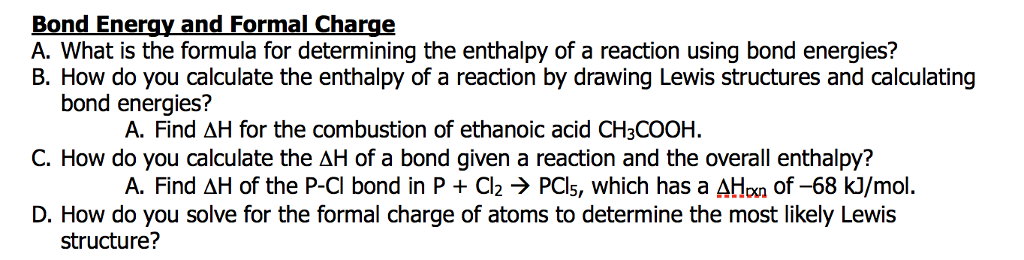 Bond Energy And Formal Charge A What Is The Formu Cheggcom