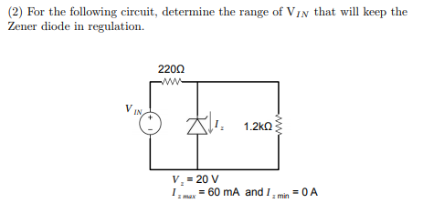 solved 2 for the following circuit determine the range rh chegg com