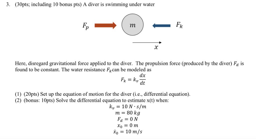 Solved 3 30pts Including 10 Bonus Pts A Diver Is Swim Chegg Com