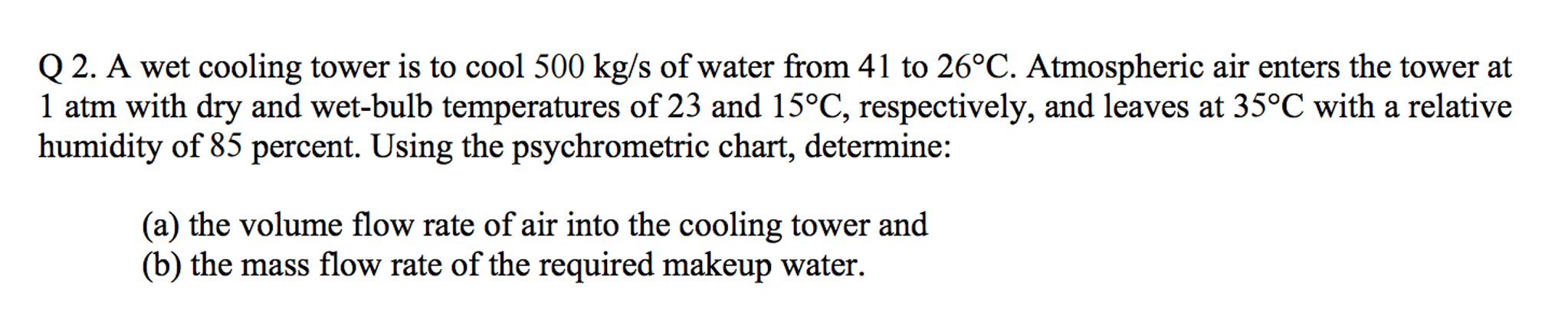 Solved: A Wet Cooling Tower Is To Cool 500 Kg/s Of Water F