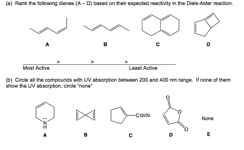 Solved A Rank The Following Dienes A D Based On The border=