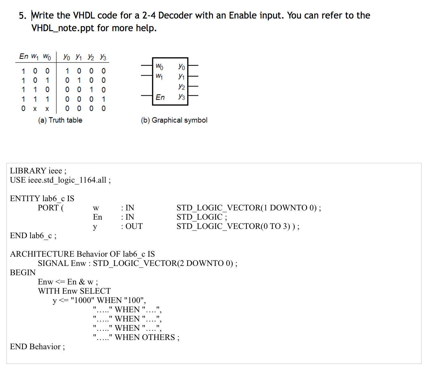 Solved: Write The VHDL Code For A 2-4 Decoder With An Enab