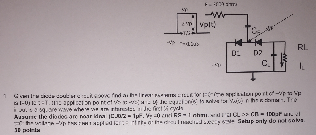 R = 2000 ohms Vp Vp(t) -Vp T=0.1us D1 D2 RL CL Vp Given the diode doubler circuit above find a) the linear systems circuit for t 0* (the application point of -Vp to Vp is t=0) to t =T, (the application point of Vp to-Vp) and b) the equation(s) to solve for Vx(s) in the s domain. The input is a square wave where we are interested in the first ½ cycle. Assume the diodes are near ideal (CJO/2 = 1 pF·Vy =0 and Rs = 1 ohm), and that CL >> CB = 100pF and at t-o the voltage-Vp has been applied for t infinity or the circuit reached steady state. Setup only do not solve. 1. 30 points