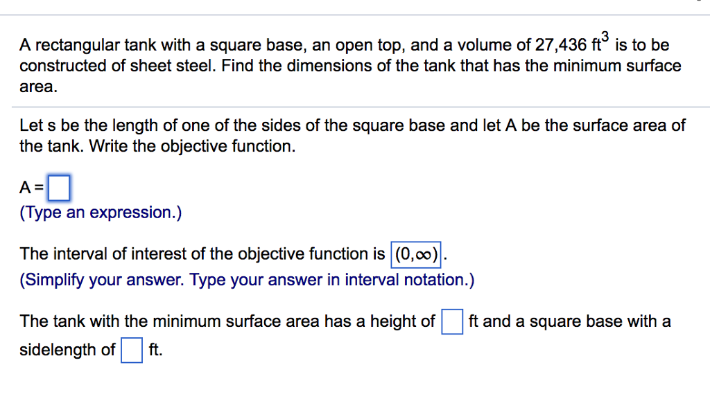 Calculus archive july 07 2017 chegg 3 a rectangular tank with a square base an open top and a volume ccuart Choice Image