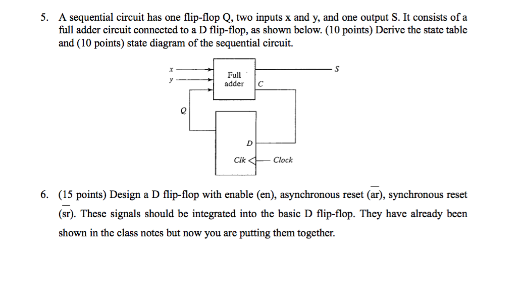 Solved: 5. A Sequential Circuit Has One Flip-flop Q, Two I ...