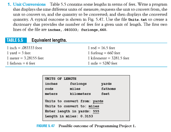 Solved: In Python Code Please. Units.txt Contents: Inches ...