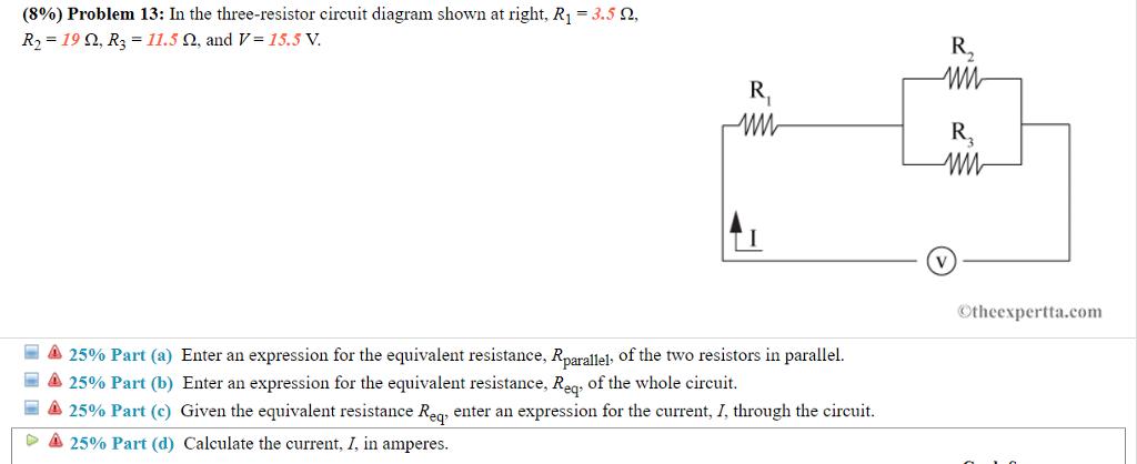 Poresistor Circuit Diagram | Solved 896 Problem 13 In The Three Resistor Circuit Di
