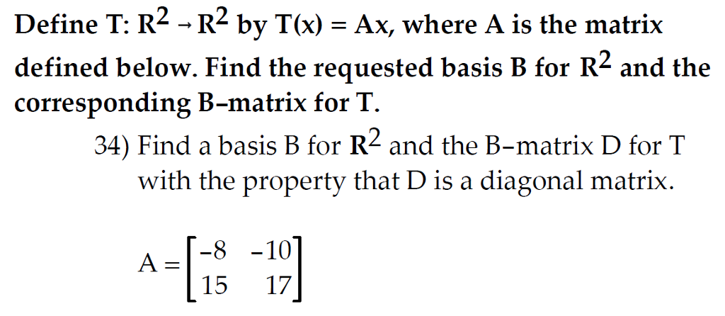 defined below find the requested basis b for r and the corresponding b